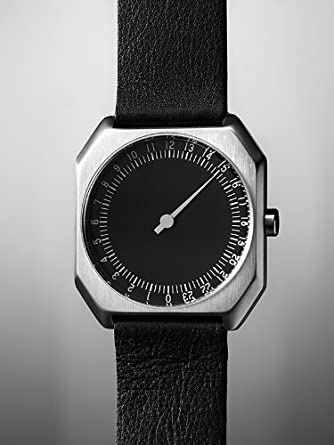 Amazon.com: slow Jo 06 - Swiss Made one-hand 24 hour watch - Silver with black leather band: The guys who do slow: Watches