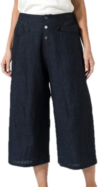 Pantalón Corto para Mujer Pantalón Ancho de algodón y Lino Pantalón de Bolsillo Diseño Creativo Pantalón Ancho de Cintura Media Pantalón Transpirable de Color sólido: Amazon.es: Ropa y accesorios
