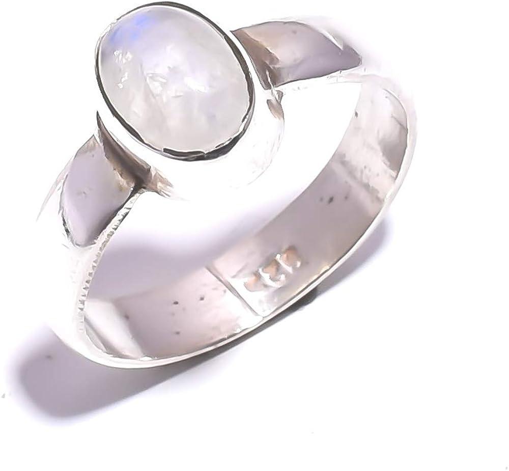 mughal gems & jewellery Anillo de Plata esterlina 925 Anillo de joyería Fina con Piedras Preciosas de Piedra Lunar del Arco Iris Natural (tamaño 5.5U.S)