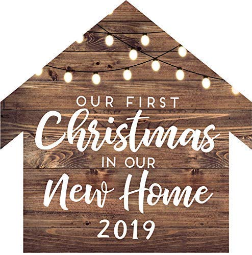 B07XJR4P1R Our First Christmas In Our New Home 2019 House Shaped Christmas Ornament Rustic Farmhouse Decor 51s2BQTnmlHL