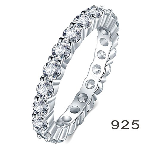 925 Sterling Silver Ring, Boruo 3.5mm Cubic Zirconia CZ Eternity Engagement Wedding Band Stackable Ring Size 5