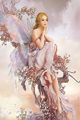 DIY 5D Diamond Painting Kit, Butterfly Fairy Embroidery Rhinestone Cross Stitch Arts Craft Supply for Home Wall Decor