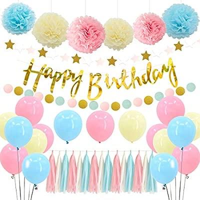 Kreatwow Fiesta de Decoraciones en Colores Pastel con borlas de Papel y Pompones, Rosa, Azul y Amarillo para niñas Baby Shower, cumpleaños, Fiesta de ...