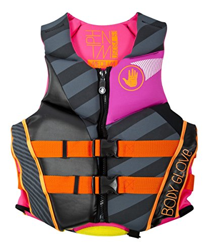 Body Glove Wetsuit Co Women's Phantom Neoprene US Coast Guard Approved PFD Life Jacket, Black/Pink, Large