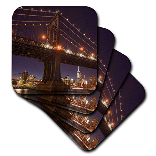 3dRose Danita Delimont - New York City - Manhattan Bridge and skyline from Brooklyn Bridge Park, New York City - set of 8 Ceramic Tile Coasters (cst_314954_4)
