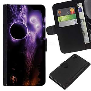 KingStore / Leather Etui en cuir / Sony Xperia Z2 D6502 / Espacio Planetas Noche Eclipse púrpura