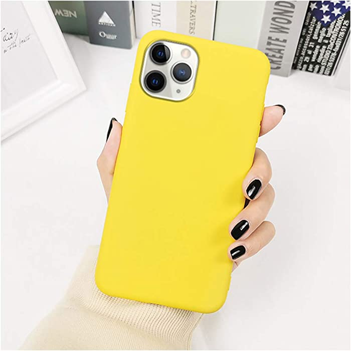 Lemon Yellow Phone Case Compatible with iPhone 11 12 Pro Max Mini XR X XS Max 7 8 6S Plus Solid Color Soft TPU Full Body Back Cover Coque (Compatible with iPhone XR, Yellow)