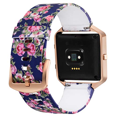 Aiseve Fitbit Blaze Floral Bands Women, Replacement Wristbands Strap with Rose Gold Frame Buckle for Fitbit Blaze Smartwatch Small Large (Cool Tone, Large)