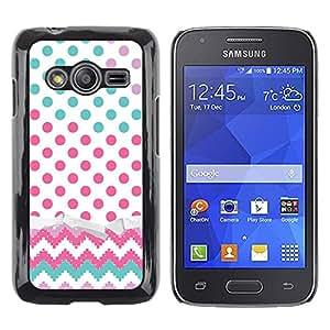 TopCaseStore / la caja del caucho duro de la cubierta de protección de la piel - Dot Chevron Teal Pink - Samsung Galaxy Ace 4 G313 SM-G313F