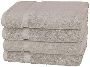 Pinzon - Toallas de baño de mezcla de algodón orgánico, juego de 4, Mármol gris: Amazon.es: Hogar