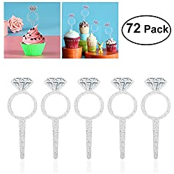 HOMEMAXS 72 Pack Plastic Diamond Cake Toppers Ring Glitter Cupcake Picks Toppers Cake Decoration Table Birthday Party Decor Wedding Engagement