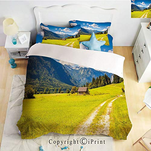 - Homenon Classic Sheets 4 Piece Bed Sheet Set,Julian Alps Mountain Valle Rural with Wooden Country House Paradise Picture,Lime Green Sky Blue,Twin Size,Softest Bed Sheets and Pillow Cases