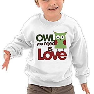 Puppylol Owl You Need Is Love Kids Classic Crew-Neck Pullover Sweatshirt White 4 Toddler