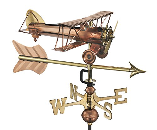 Weathervane Arrow - Good Directions Biplane with Arrow Weathervane, Includes Garden Pole, Pure Copper, Airplane Weathervanes, Aviation Décor