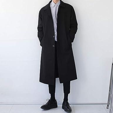 OOFAY Gabardina Larga de Color Liso para Hombres Marea Masculina Abrigo de algodón con Solapa Japonesa Macho, Negro, XL: Amazon.es: Ropa y accesorios