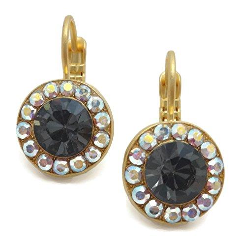 Mariana Swarovski Gold Plated Earrings Silvernite Crystal AB Circle Mosaic 3701 Tuxedo