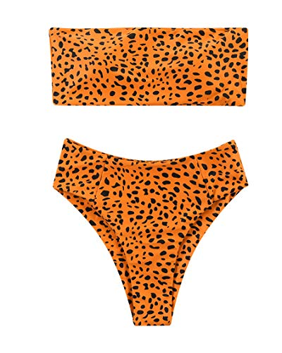 MOSHENGQI 2 Pieces Sexy Leopard Prints Bikini Set for Women Bandeau Swimsuits High Waist Bathing Suits (Medium, Bright Orange)