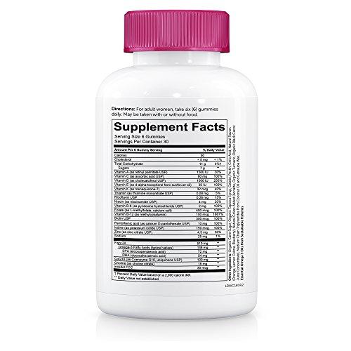 SmartyPants Women's Complete Gummy Vitamins: Gluten Free, Multivitamin, CoQ10, Folate (Methylfolate), Vitamin K2, Vitamin D3, Biotin, Methyl B12, Omega 3 DHA/EPA Fish Oil, 180 count (30 Day Supply) by SmartyPants Gummy Vitamins (Image #4)