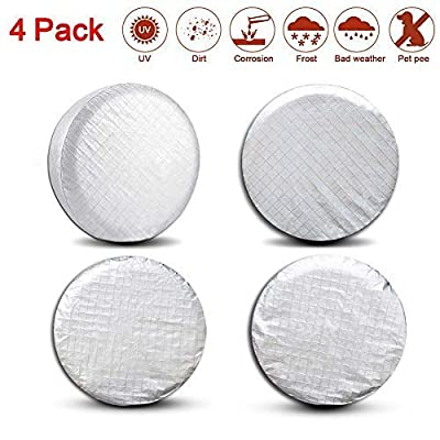 Valleycomfy Set of 4 Tire Covers- Tire Protectors RV Wheel Motorhome Wheel Covers,Waterproof Aluminum Film Tire Sun Protectors,Cotton Lining Tire Covers (27-29inches): Automotive