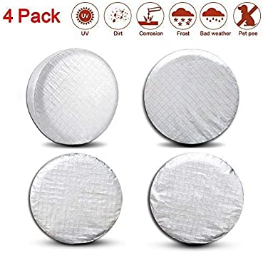 Tire Protectors RV Wheel Motorhome Wheel Covers,Waterproof Aluminum Film Tire Sun Protectors,Cotton Lining Tire Covers Valleycomfy Set of 4 Tire Covers 27-29inches