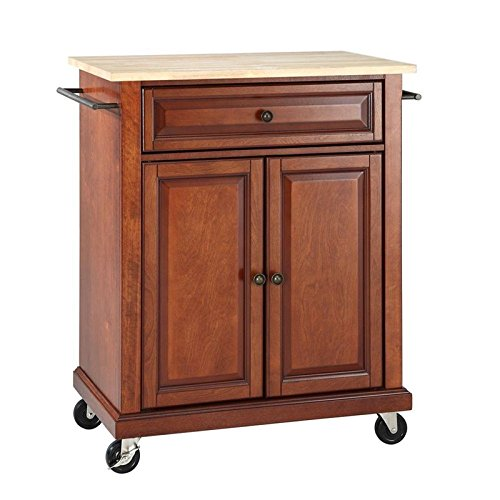 Crosley Furniture Cuisine Kitchen Island with Natural Wood Top - Classic Cherry from Crosley Furniture