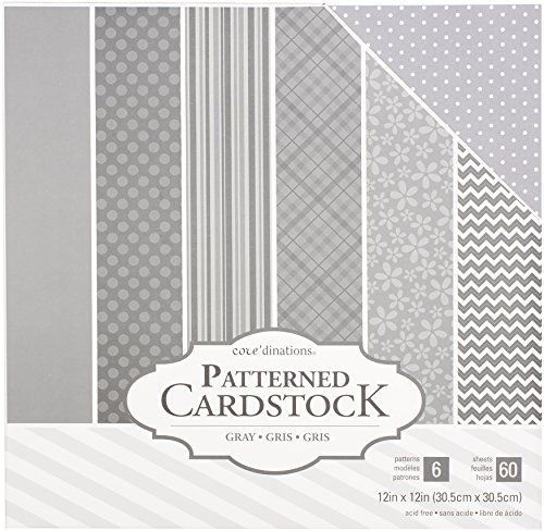 Basic Grey 12x12 Inch Paper - American Crafts Core'dinations Cardstock 60 Sheet 12 x 12 Inch Paper Pack Grey