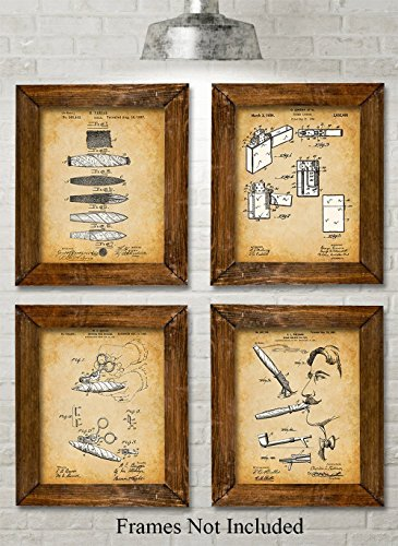 Original Cigars Patent Art Prints - Set of Four Photos (8x10) Unframed - Great Gift for Cigar Lovers, Home Bar, Game Room or Man Cave Decor