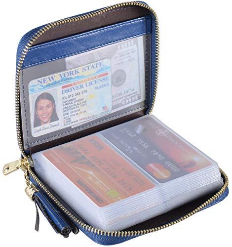 Yuhan Pretty Womens Credit Card Holder Wallet RFID Leather Small ID Card Case (40 Card Slots - Dark Blue) (Thin Credit Card Holder And Id Wallet)