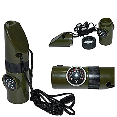 IRQ 7 In 1 Multi-Function Emergency Survival Whistle with Compass Thermometer Magnifier LED Flashlight Fire Glass Mirror For Outdoor Camping Hiking Climbing Hunting Travel Lanyard Army Green