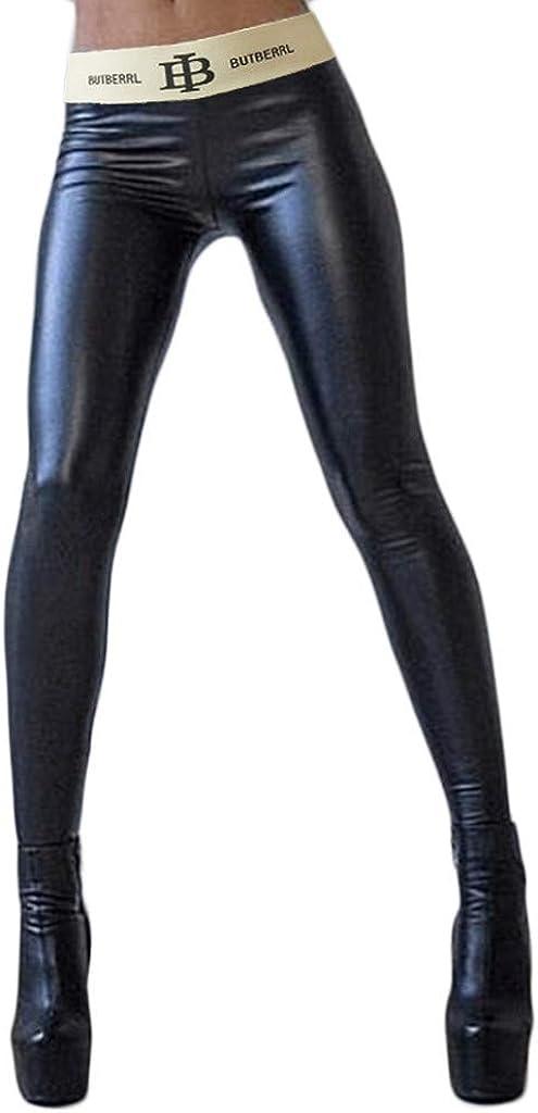 riou Pantalones Deportivos para Mujer Leggins Cuero Brillante Pantalón Elásticos Alta Cintura Pantalones de Yoga Delgados para Yoga Running Fitness con Gran Elásticos