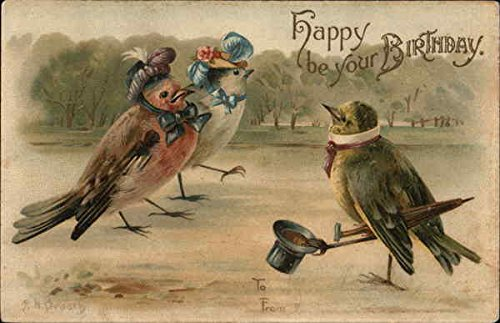 happy-be-your-birthday-male-bird-tips-hat-to-two-lady-birds-original-vintage-postcard