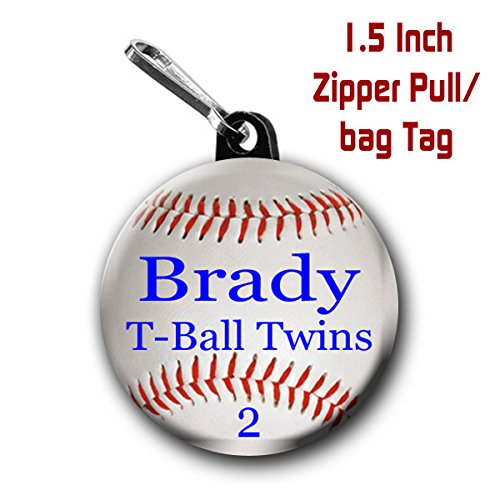 野球ジッパープル( 2つ) Large Personalized野球バッグタグ1.5インチチャームwith、名前、チーム名と番号withカラーChoice B0150B9IO2