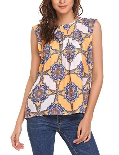 - SoTeer Women's Floral Geometric Printing Basic Sleeveless Pintuck Tops