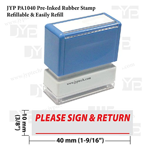 (New JYP PA1040 Pre-Inked Rubber Stamp w. Please Sign &)