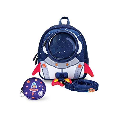 (yisibo Rocket Toddler Backpack with Harness Leash Snack Nursery Bags for Kids Baby Boy Girl 1-3 Years Old)