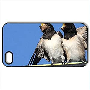 Bird rock - Case Cover for iPhone 4 and 4s (Birds Series, Watercolor style, Black)