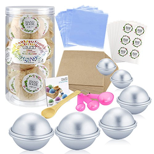 Caydo 176 Pieces DIY Bath Bomb Molds Set with Instructions Including 12 Pieces 3 Size DIY Metal Bath Bomb Molds, Spoons, Wrapping Papers, Shrink Wrap Bags for Crafting Your Own Fizzies - Economical Steel Step