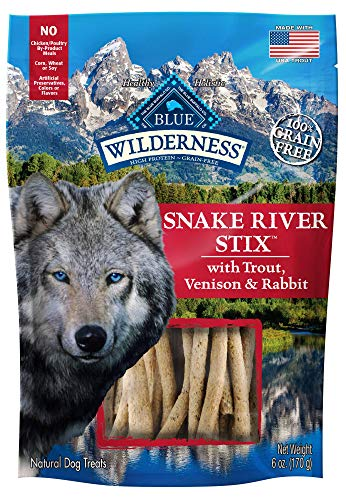 Blue Buffalo Wilderness Snake River Stix Grain Free Soft-Moist Dog Treats, with Trout, Venison & Rabbit 6-oz bag