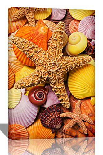 Purple-Verbena-Art-12x16-Inch-One-Panel-Conch-Shells-and-Starfish-Picture-Photo-Prints-on-Canvas-Wall-Artwork-Modern-Beach-HD-Giclee-Walls-Art-Work-for-Home-Decor-Stretched-and-Framed-Ready-to-Hang