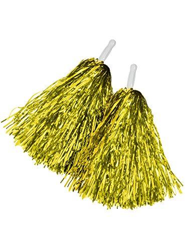 BBTO 1 Pair Cheerleading Poms Plastic Cheerleading Pom Poms for Football Basketball Cheers (Gold) (Gold Cheerleader Football)