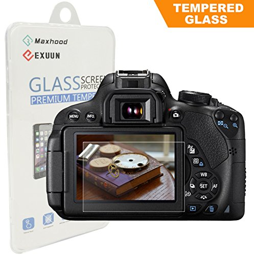 Canon EOS Rebel T7i T6i T5i 800D 700D 750D LCD Tempered Glass Screen Protector, Exuun Optical 9H Hardness 0.33mm Ultra-Thin DSLR Camera Tempered Glass for Canon T5i T6i T7i (Digital Camera Lcd Screen Protectors)