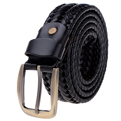 Vbiger 33mm Woven Braided Belt for Men & Women Genuine Leather Brown and Black (one size, Black 2)