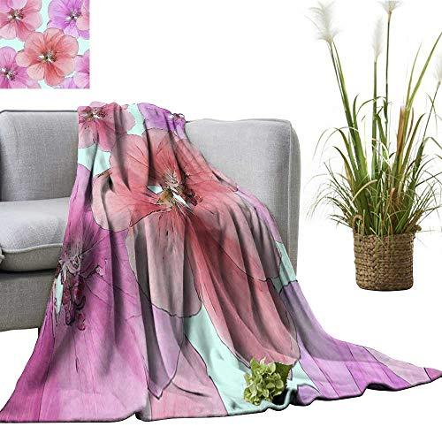 Decorative Throw Blanket Geranium cranesbill Seamless Pattern Texture of Flowers Anti-Static Throw 55