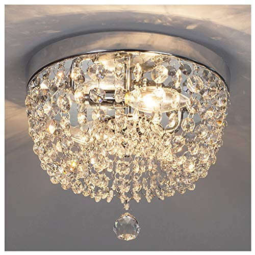 GLANZHAUS Fashion Designed Mini Style 9.84″ Chrome Finish Crystal Ceiling Light, 2-Light Crystal Chandelier for Living Room Dining Room Bedroom For Sale