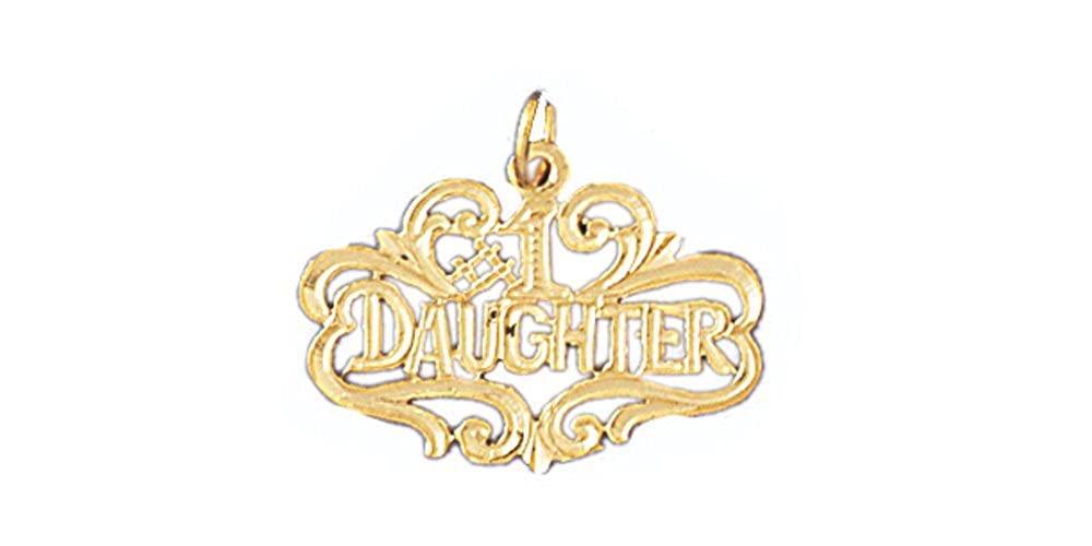 14K Yellow Gold #1 Daughter Pendant on an Adjustable 14K Yellow Gold Chain Necklace