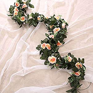 Artificial Silk Rose Flower Wisteria Vine Rattan Hanging Flower Garland For Wedding Party Home Garden Decoration 05 6
