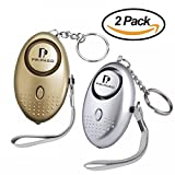 2 Pack Emergency Personal Security Safety Alarms Self-Defense Electronic Device 130DB Decibels with Pripaso LED Flashlight for Women, Elderly, Rape, Jogger, Student, as a Bag Decoration