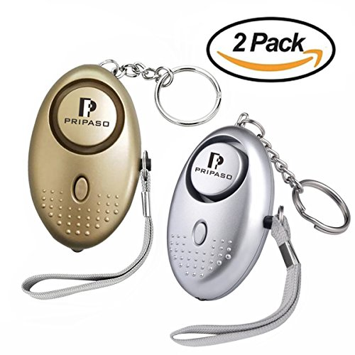 2 Pack Emergency Personal Security Safety Alarms Self-Defense Electronic Device 130DB Decibels with Pripaso LED Flashlight for Women, Elderly, Rape, Jogger, Student, as a Bag (Key Date Walking)