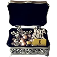 elegantmedical CATHOLIC AAA 8-9mm REAL PEARL Pearls SILVER ROSE BEADS ROSARY CROSS NECKLACE BOX
