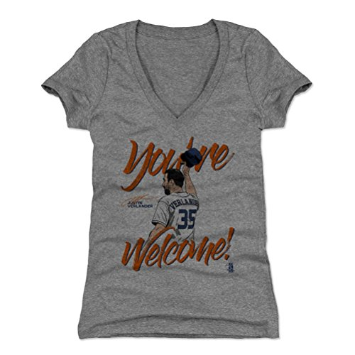 500 LEVEL Justin Verlander Women's V-Neck Shirt X-Large Tri Gray - Houston Baseball Women's Apparel - Justin Verlander Hat Tip O